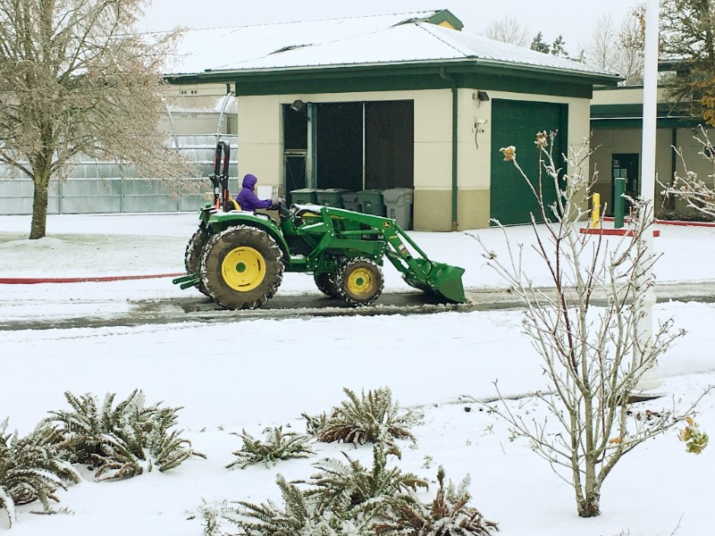 Young women transition program students at Riverside high school are using our new tractor to clear the driveways and roads at Oak Creek correctional facility