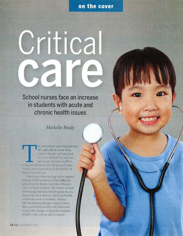 First page of article with child holding stethoscope