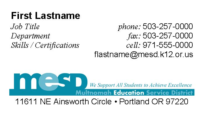 MESD Business Card Template