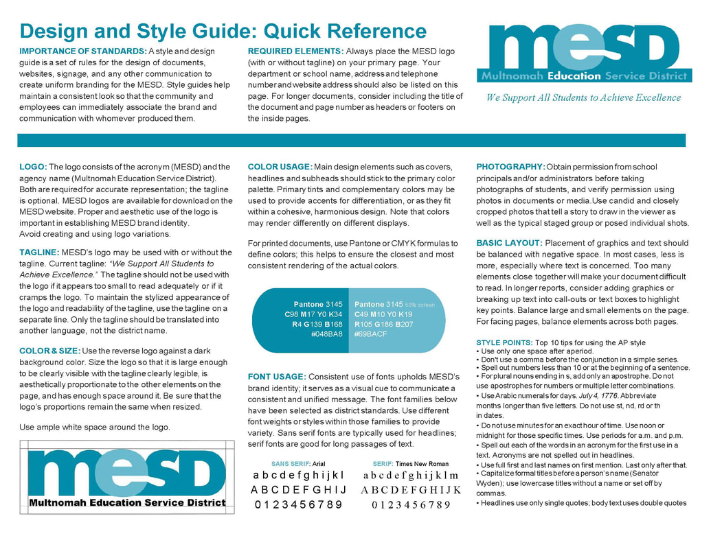 MESD Design & Style Guide Quick Reference