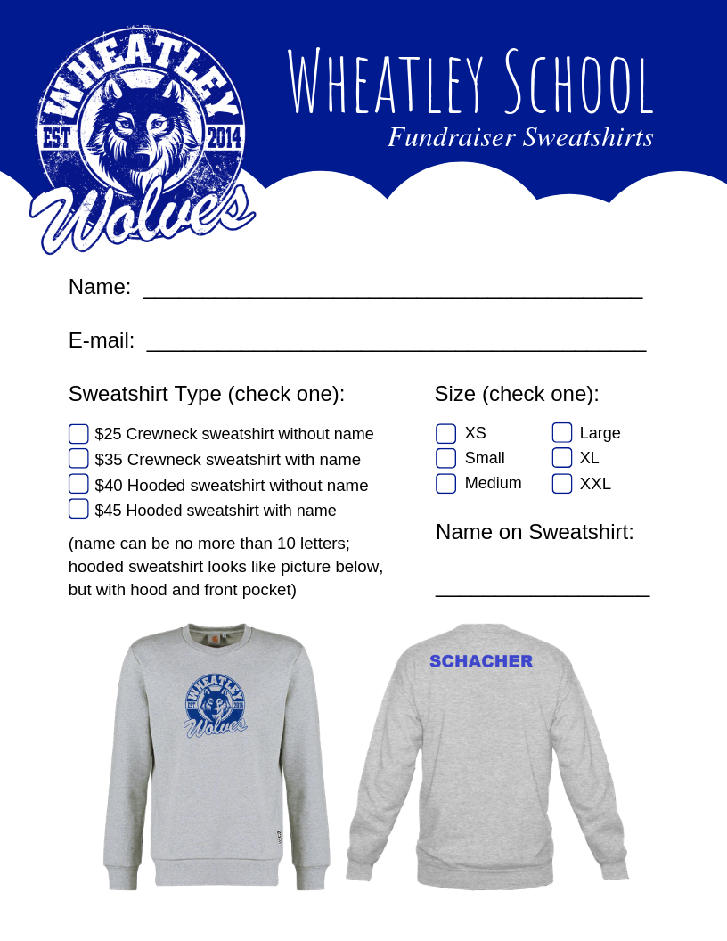 Wheatley Sweatshirt Order Form